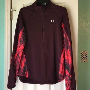 Under armour fitted pullover. Maroon/pink size XL